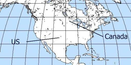 And here's the North American continent. Population is about 300 million... Canada is to the North of the US, which is to the North of South America. Really.